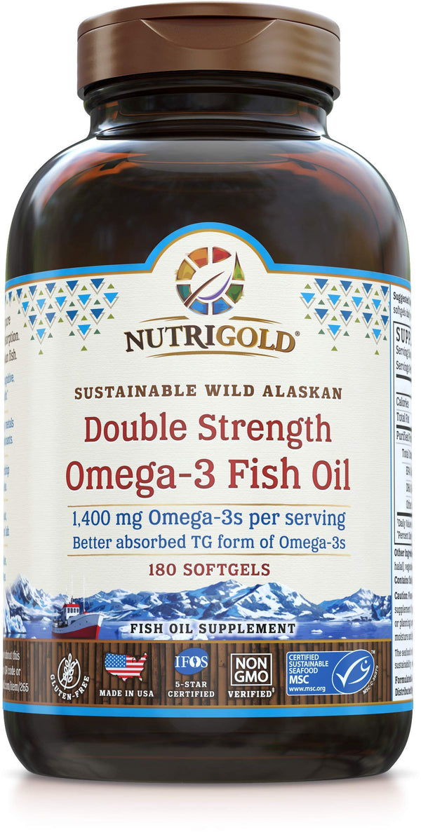 Nutrigold Triglyceride Omega 3 Gold Fish Oil Capsules - 180 Softgels - The Gold Standard