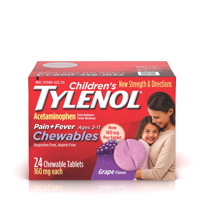 Tylenol Children's Chews, 160mg Acetaminophen for Pain and Fever Relief, Grape, 24 Count