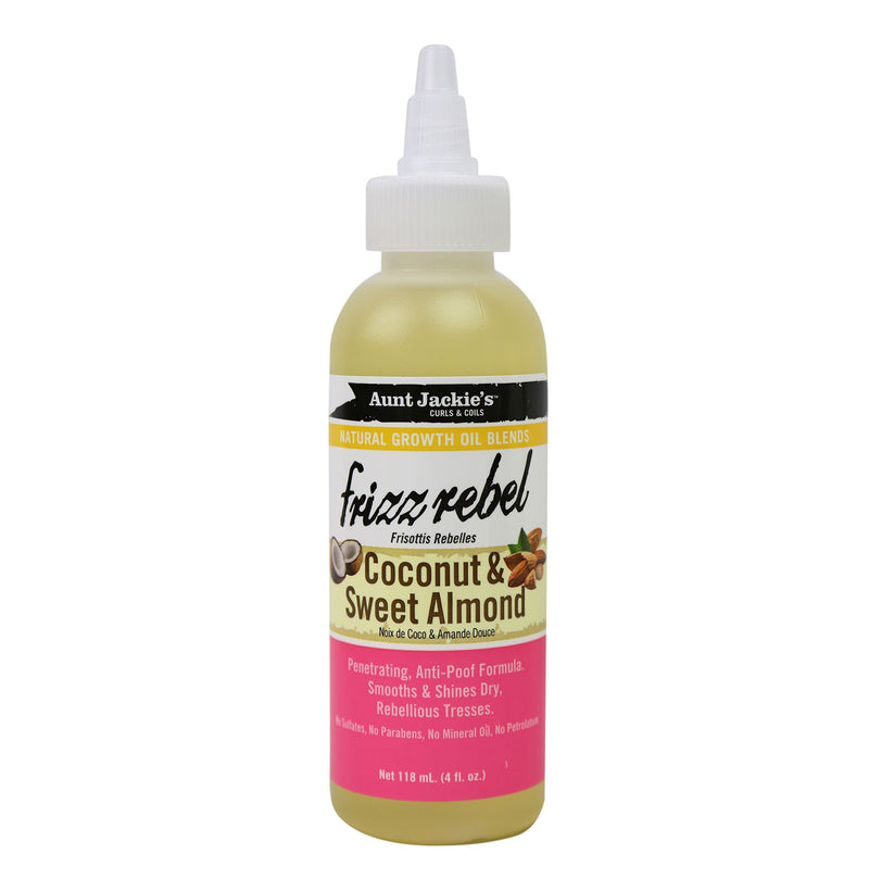 Aunt Jackie's Frizz Rebel, Coconut & Sweet Almond Natural Growth Oil, 4oz, 4 Oz