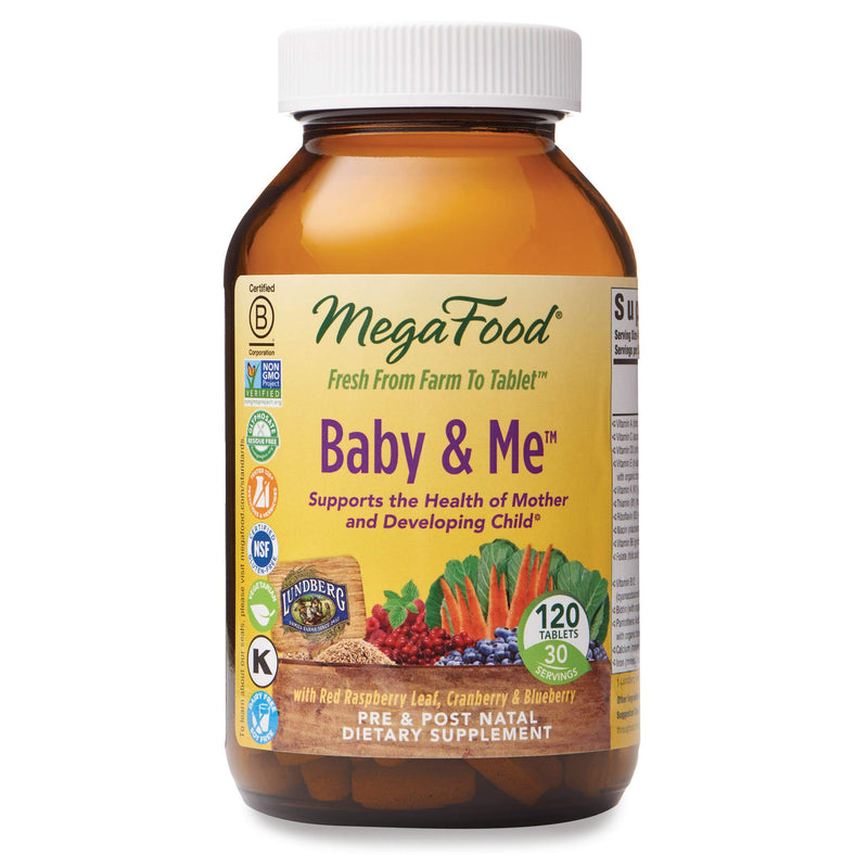 MegaFood - Baby & Me, Prenatal & Postnatal Support for Mother & Baby, 120 Tablets (FFP)