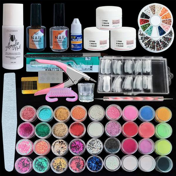Latorice 36 in 1 Acrylic Nail Kit Set Professional With Everything, Nail Art Set Acrylic Powder Liquid Brush Glitter Clipper File French Tips Nail Art Decoration Tools Professional Manicure Set