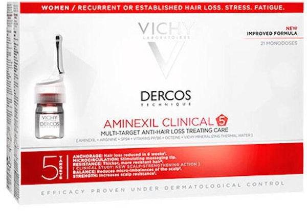 Vichy Dercos Aminexil Clinical 5 Targets Women - 21 Ampoules