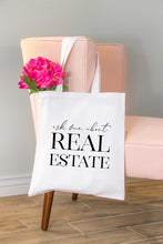 Load image into Gallery viewer, Ask Me About Real Estate Tote Bag