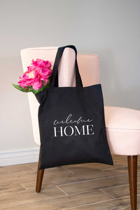 Welcome Home Black Tote Bag