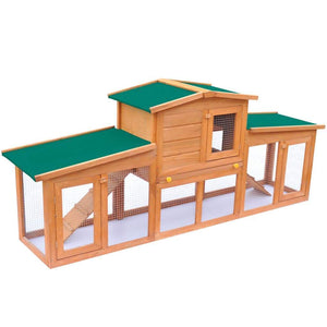 vidaXL Large Rabbit Hutch Small Animal House Pet Cage with Roofs Wood