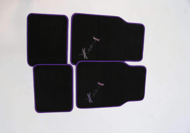 Auto Accessories Dragonfly 4-Piece Car Mat - Purple