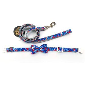 Blue Starfish Dog Collar and Leash Set