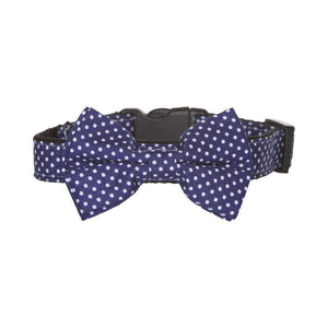 BOW TIE DOG COLLAR - BLUE DOT