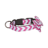 BOW TIE DOG COLLAR - PINK CHEVRON