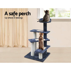 Pet Care 100cm Multi Level Cat Scratching Post / Tree / Pole - Grey