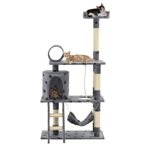 140cm Cat Scratching Post / Tree / Pole - Grey With Pawprints
