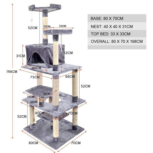 Cat Scratching Post Specialists | Cat Scratcher Trees & Poles 198cm Cat Scratching Post / Tree / Pole - Grey