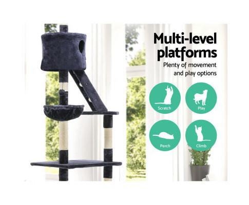 Cat Scratching Post Specialists | Cat Scratcher Trees & Poles 260cm Multi Level Cat Scratching Post / Tree / Pole - Blue