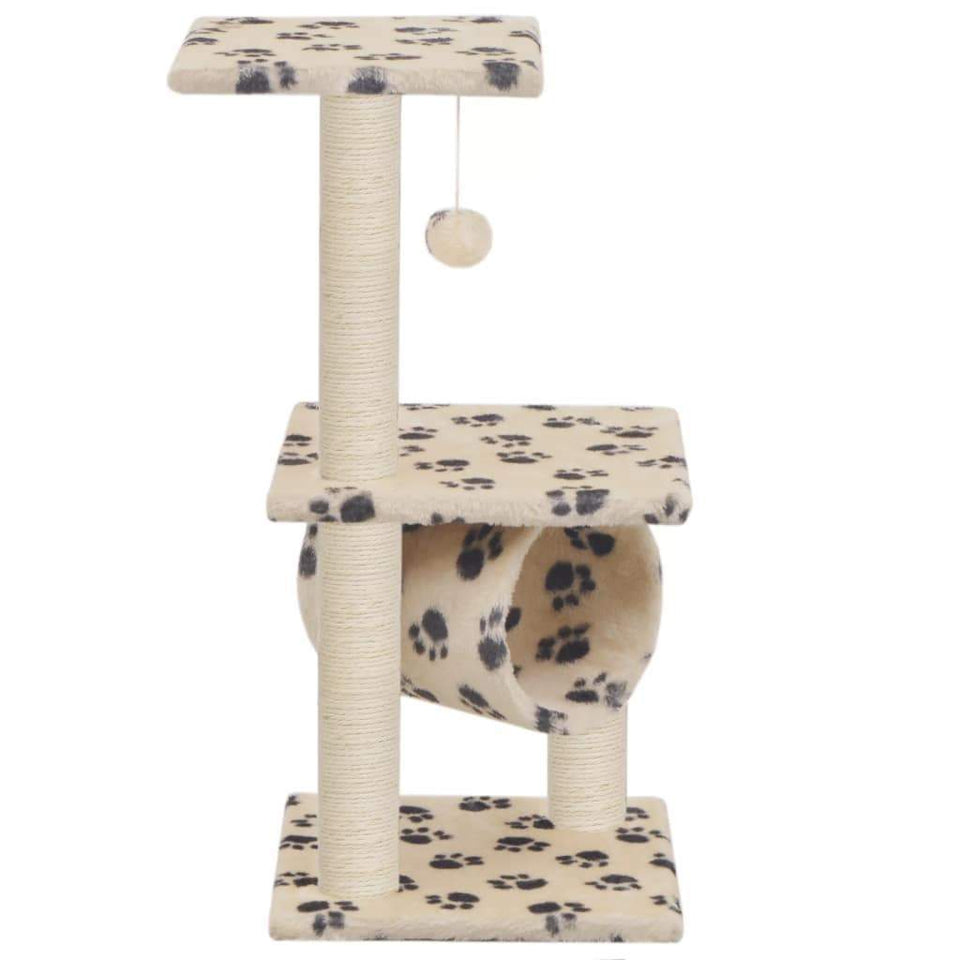 65cm Cat Scratching Post / Tree / Pole - Beige With Paw Print