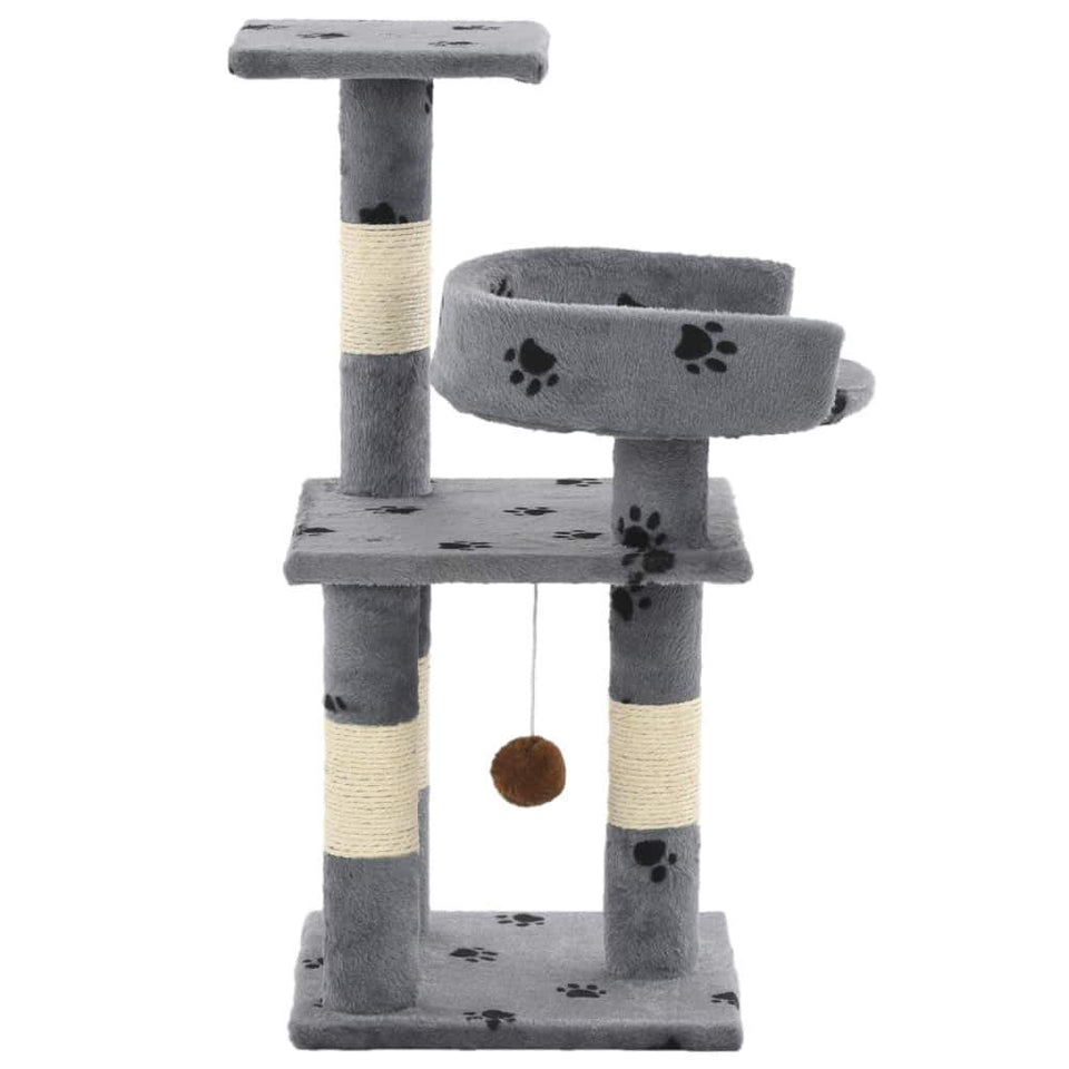 65cm Cat Scratching Post / Tree / Pole - Grey With Paw Prints