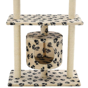 95cm Cat Scratching Post / Tree / Pole - Beige With Paw Prints