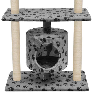 95cm Cat Scratching Post / Tree / Pole - Grey With Paw Prints