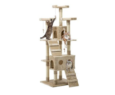 Cat Scratching Post Specialists | Cat Scratcher Trees & Poles Triple Perch High Rise Cat Scratching Post / Tree / Pole - Beige