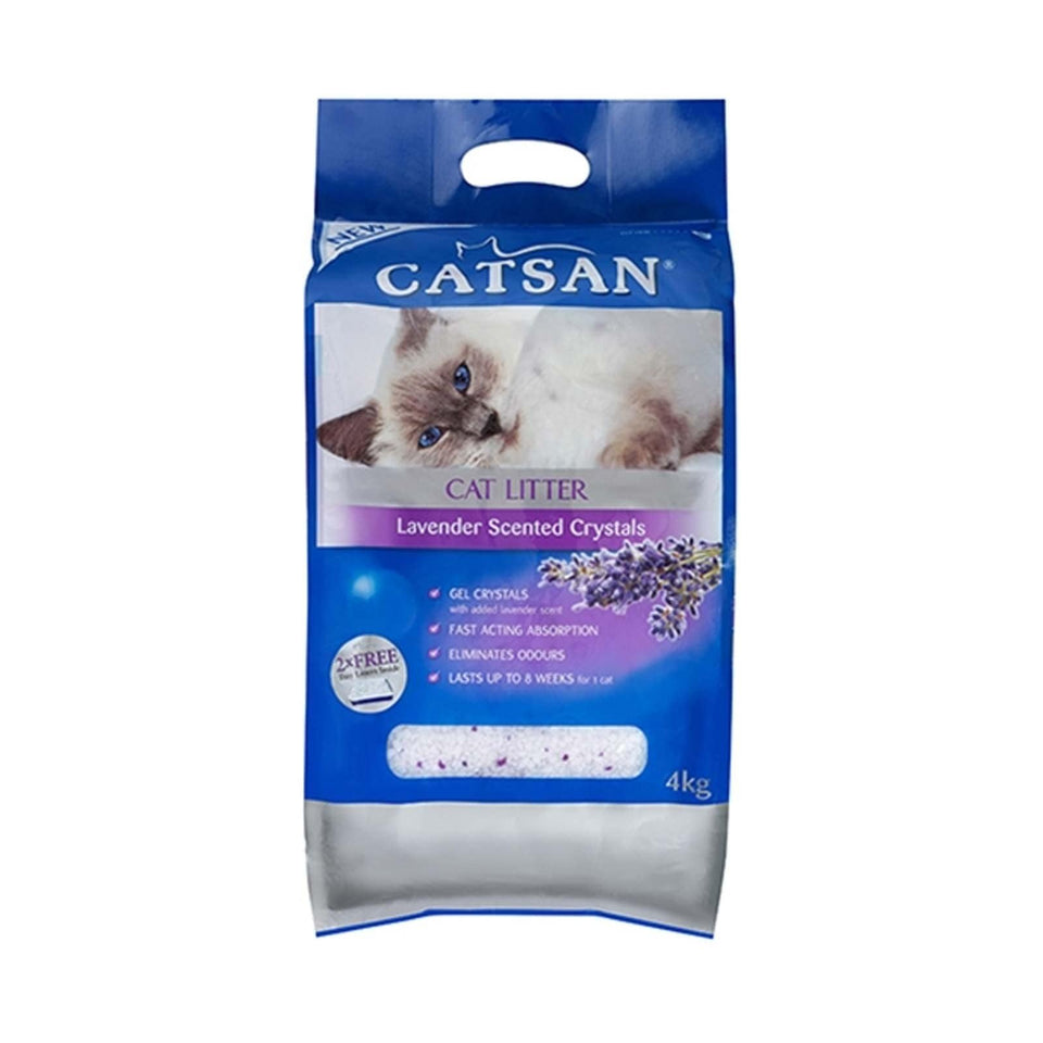 Catsan Crystals Lavender Litter 4Kg x 2