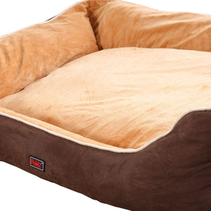 Deluxe Soft Pet Bed Mattress with Removable Cover Size Large in Brown Colour