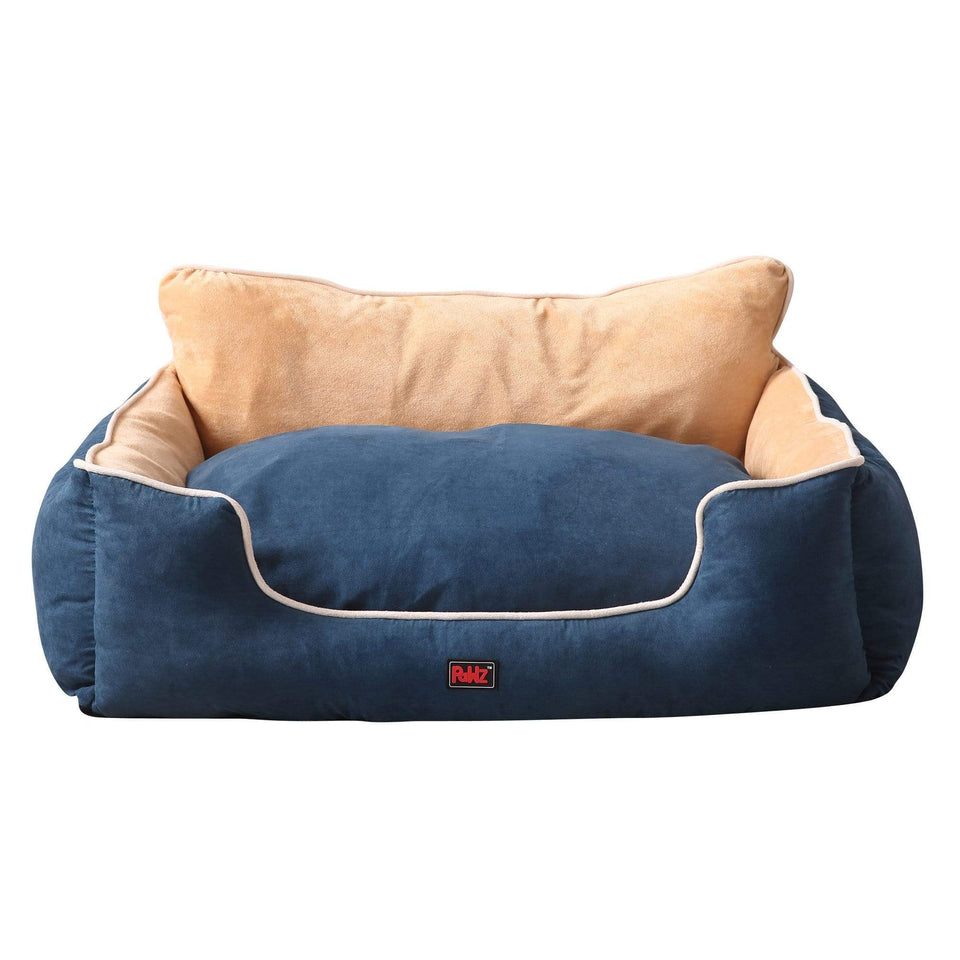 PaWz Size M Blue Colour Pet Deluxe Soft Cushion with High Back Support
