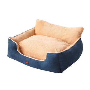 Size M Blue Colour Pet Deluxe Soft Cushion with High Back Support