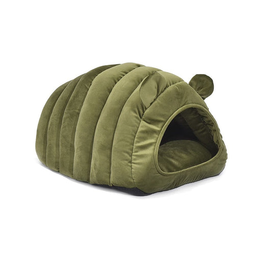 Dog & Cat Long Cave Igloo Bed - Green