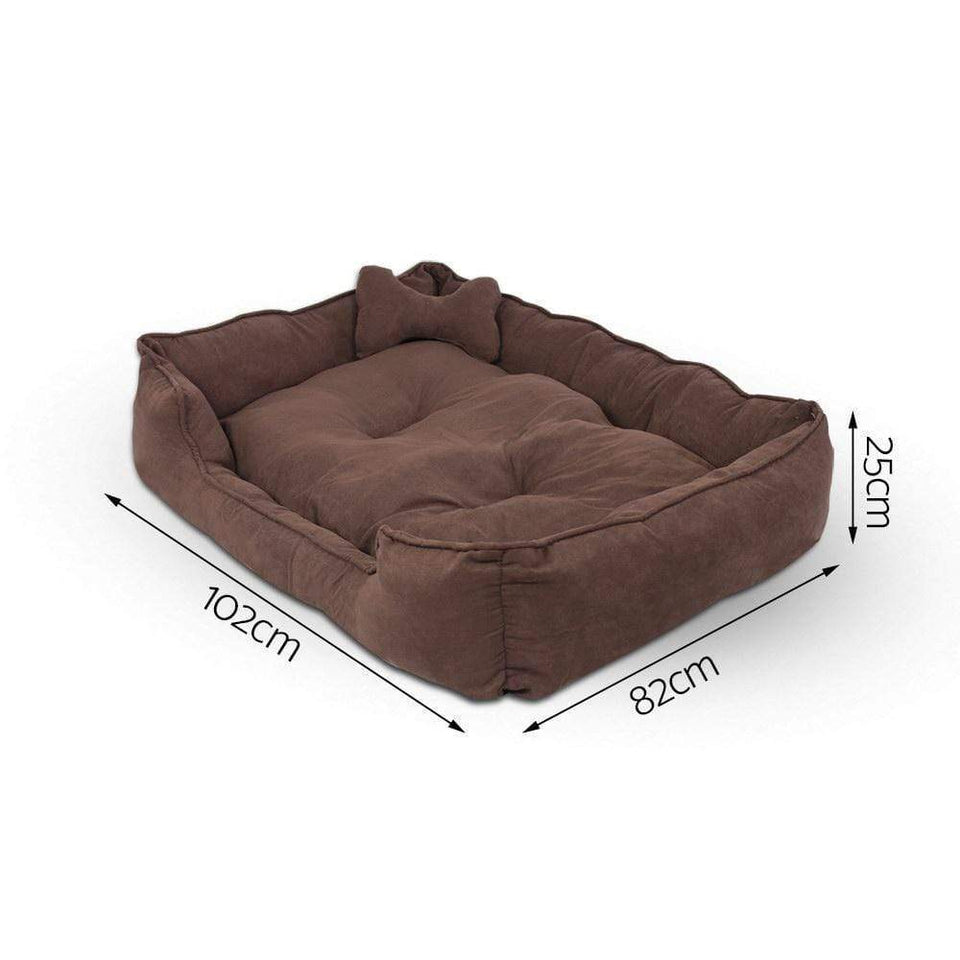 Pet Care Extra Large Faux Suede Washable Pet Bed - Brown