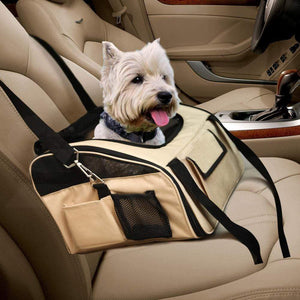 Portable Pet Carrier Car Booster Seat in Size Large in Beige Colour