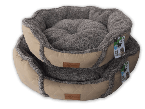 Reversible 'Fluffy Cloud' Cushioned Round Dog Bed