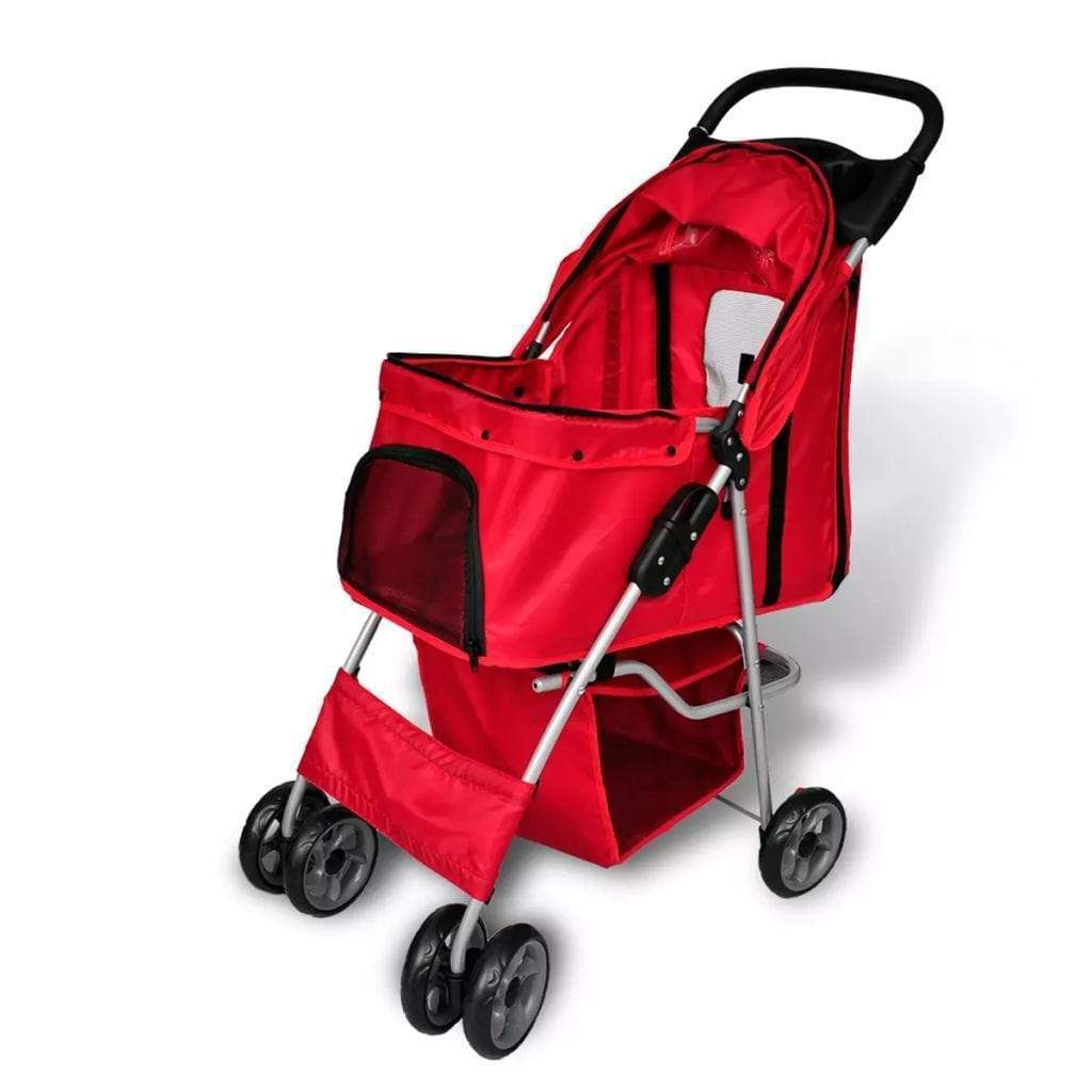 Folding Pet Stroller Dog/Cat Travel Carrier Red