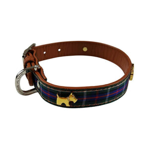 HIGHLAND BLUE TARTAN DOG COLLAR