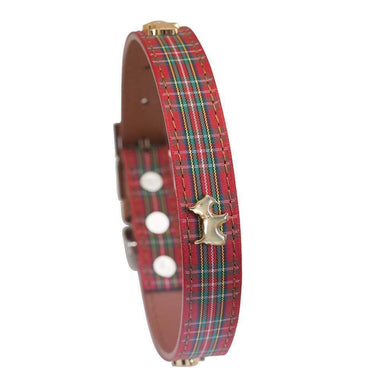 HIGHLAND RED TARTAN DOG COLLAR