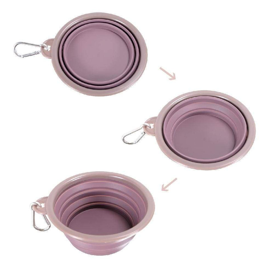 Quick Bite Collapsible Travel Pet Bowl – Mauve