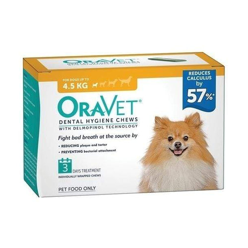 Oravet Plaque & Tartar Control Chews for Extra Small Dogs up to 4.5kg - Orange 3-Pack