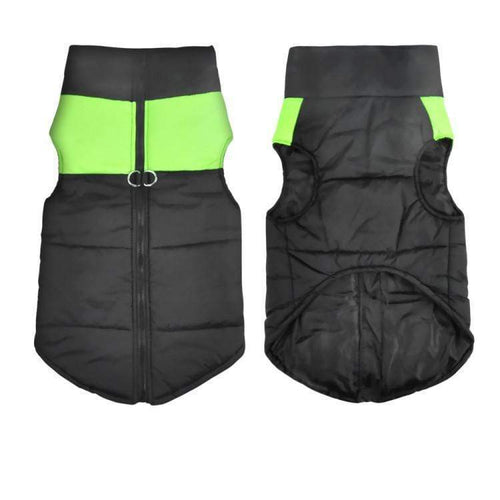 PADDED WATERPROOF DOG JACKET - GREEN LARGE