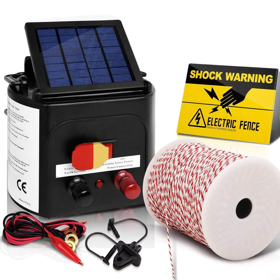 Pet Care Giantz 3km Solar Electric Fence Energiser Charger with 500M Tape and 25pcs Insulators