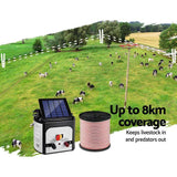 Pet Care Giantz 8km Solar Electric Fence Energiser Charger with 400M Tape and 25pcs Insulators