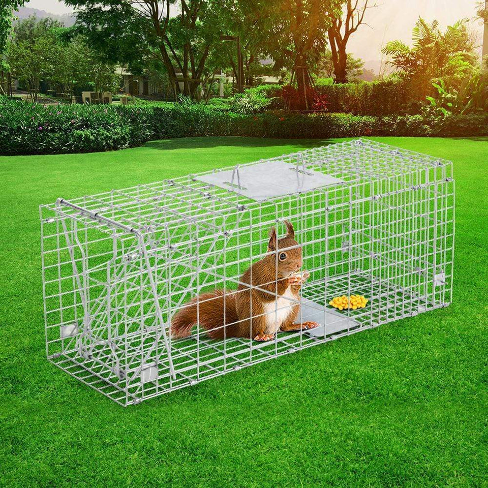 Pet Care Humane Animal Trap Cage 66 x 23 x 25cm  - Silver