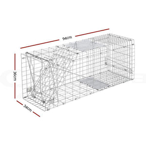 Pet Care Humane Animal Trap Cage 94 x 34 x 36cm  - Silver