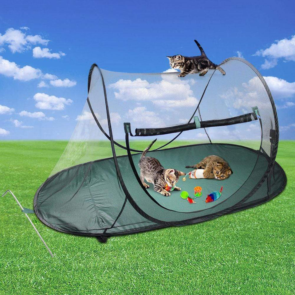 Pet Care Portable Soft Pet Play Pen - Black & Green