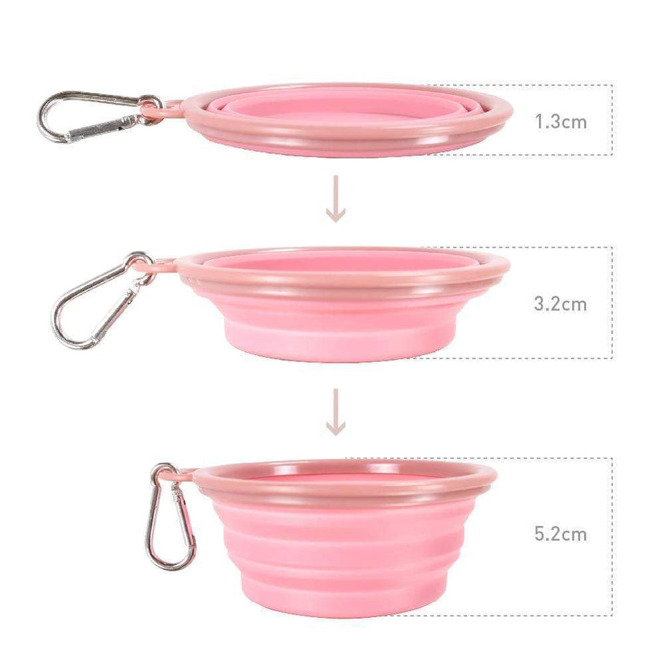 Quick Bite Collapsible Travel Pet Bowl - Pink