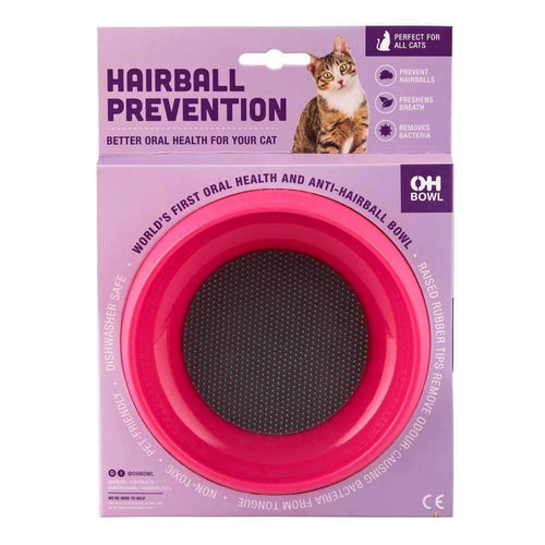 Slow Food Hairball Control Cat Bowl - Pink