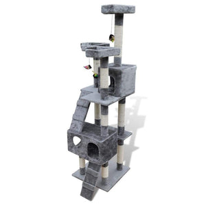vidaXL Cat Tree Cat Scratching Post 170 cm 2 Condos Grey