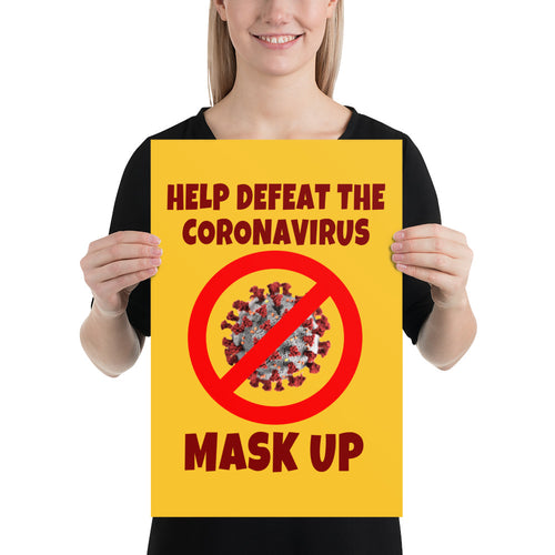 'Defeat the Coronavirus' Poster (yellow)