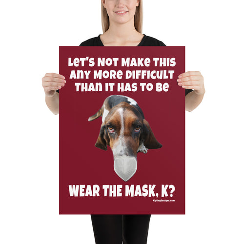'Basset Hound Mask-Up' Covid-19 Poster