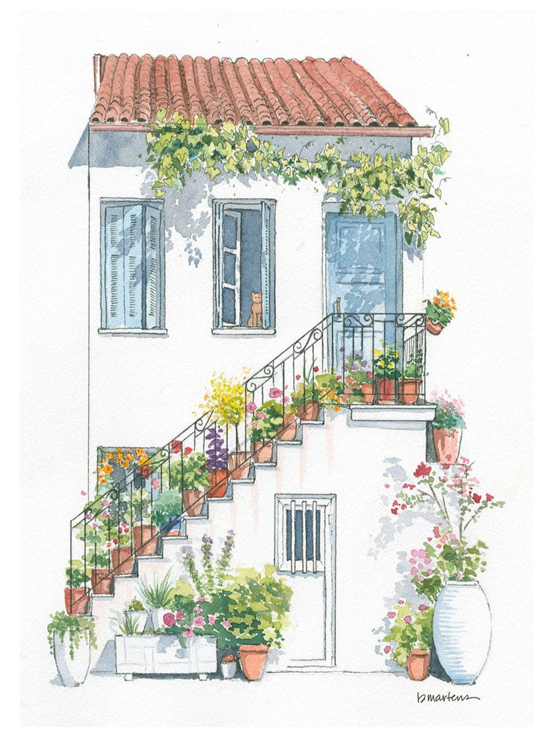 Greece Stairway Limited Art Print