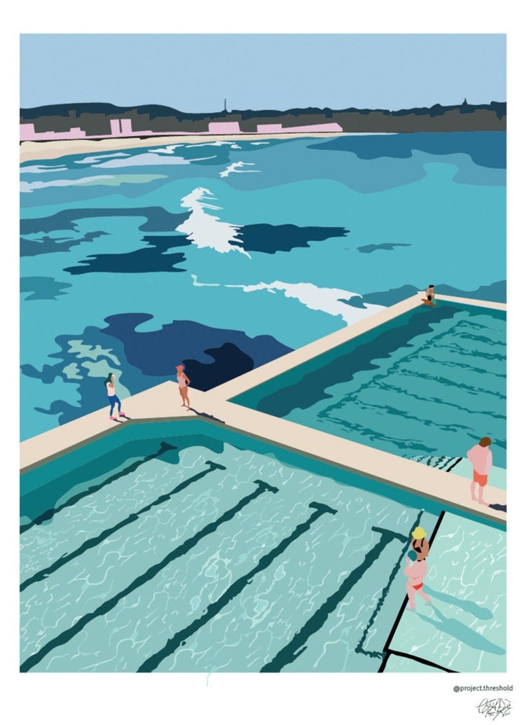 Bondi Beach Icebergs Art Print - Printed Originals