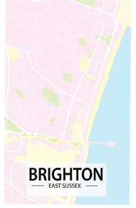 Brighton Map Art Print - Printed Originals