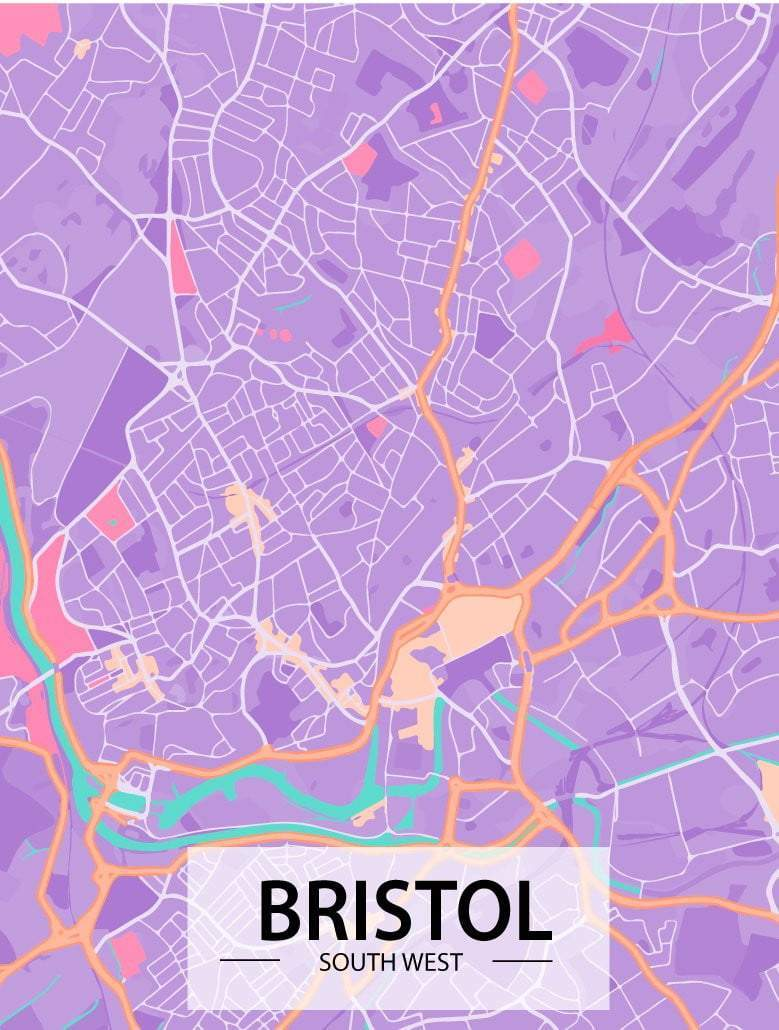 Bristol Map Art Print - Printed Originals